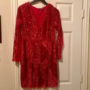 Gianni Bini red mini sequin & sparkling dresss
